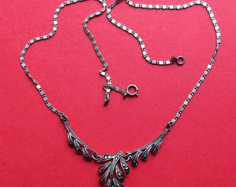 Sterling Silver Marcasite Antique German Leaf Art Deco Necklace