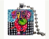 60% Off Today- Dachshund Necklace Doxie Dog Folk Art Jewelry - Pendant Glass Gift Art Heather Galler Gift-  Weiner Dog Lovers Abstract Moder