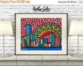 50% Off Today- Miami skyline art city Print Poster by Heather Galler Florida Cityscape City Skyline Mexcian Folk Art (HG672)