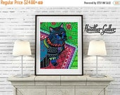 50% Off Today- Black Cat Folk art Poster Print of  Painting  by Heather Galler (HG189)