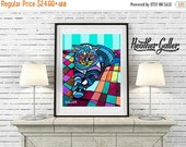 50% Off Today- Cat Art Poster Print of Painting Abstract Modern Colorful Quilt (HG264)