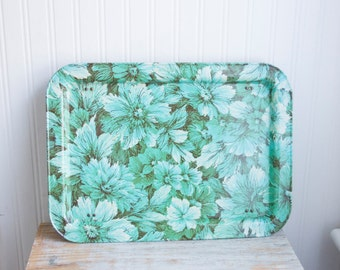 Vintage Floral Lap Tray, Folding Tray with Flowers, Blue Green Teal, 1960's 60s Breakfast in Bed