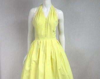 On Sale 1960s Cotton Dress. Halter Dress. Hot Summer nights dream Dress