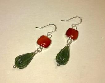 Courageous Carnelian and Jade Earrings - handmade earrinngs, carnelian earrings, jade earrings, jade jewelry, orange stone, green stone,