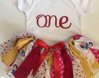 Snow White Birthday Outfit - Snow White Skirt - Snow White Tutu - Disney Little Girl Outfit - Birthday Outfit - Disney Skirt - Girl Outfit