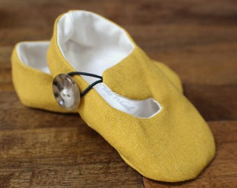 Mustard Yellow Linen Baby Shoes, Baby Booties, Baby Girl, Baby Boy - Baby or Toddler Sizes Gender Neutral