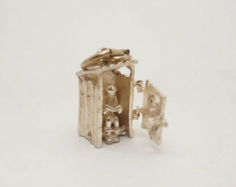 Vintage Sterling Outhouse Charm with Movable Door and Man