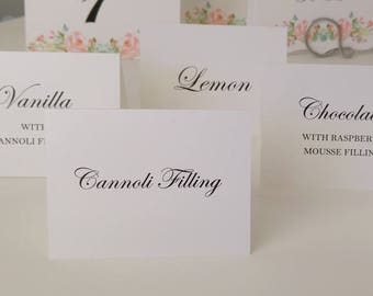 Buffet Signs, Bridal Shower Buffet Signs, Wedding Buffet Signs,  Simple and Elegant Small Tented Personalized Signs