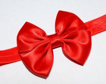 Red Bow Headband/ Red Satin Bow Headband/ Snow White Headband/ Fourth of July Headband/ Baby Hair Accessories/ Baby Girls/ Snow White Bow