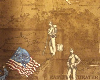 A Wonderful Civil War Soldier's Story Cotton Fabric  By The Yard-Free US Shipping