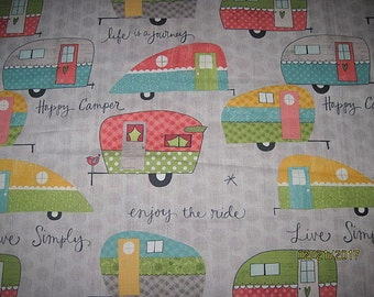 18X22, CAMPERS, Cotton Fabric, Fat quarter, scrap, remnant, camp, travel, trailer, gray, living simply,