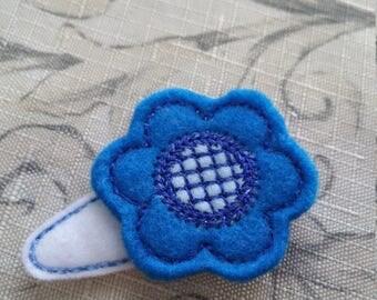Clearance Blue Felt Flower Hair Clip With Felt Clip Cover / Embroidered Felt / Ready To Ship