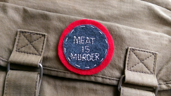 Meat is murder felt patch // hand-embroidered // grey and red
