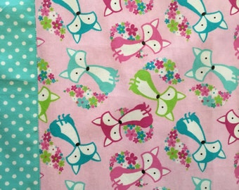 Colorful foxes receiving blanket ** Gift for new Mom ** Baby Shower Gift  ** Gift for Mothers Day
