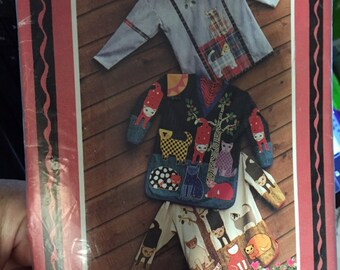 Top Cat JACKET Shirt tunic Blouse pullover top SEWING PATTERN misses xsmall (6) to size 22 (xl) long sleeve pullover top Cat appliques tree