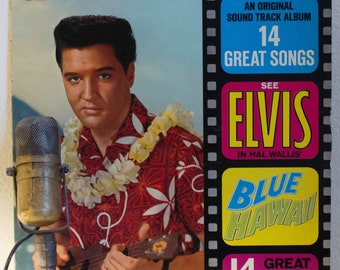 """ON SALE Elvis Presley Vinyl Record Soundtrack Album 1960s Rock and Roll Pop Fun """"Blue Hawaii"""" (1970s Re-issue w/""""Can't Help Falling In Love"""""""