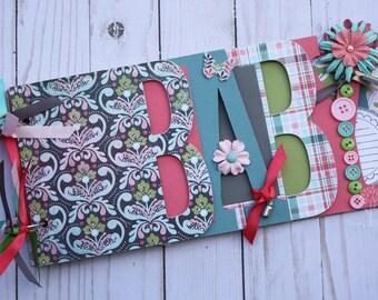Baby scrapbook album, premade scrapbook, word chipboard album, baby shower gift, newborn, baby girl, pink, blue, green -BG30