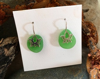 Green Sea Glass and Sterling Silver Lotus Earrings