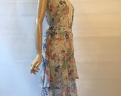 Vintage 1930's bias cut floral print cotton voile sheer tea or garden party dress with tiered skirt