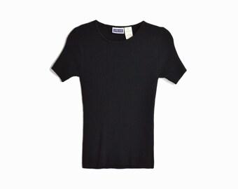 Vintage 90s Ribbed Black Tee/ 90s Short Sleeve Tee - women's small