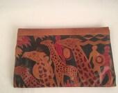 Vintage Giraffe Purse Soft Brown Dyed Tooled Leather Large Zippered Clutch Handbag Boho African Ethnic Animal Print Novelty