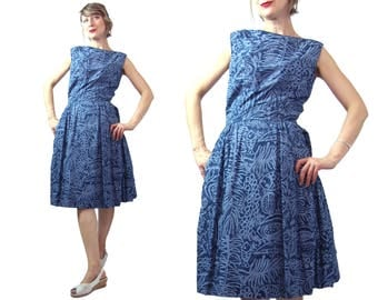 1950s to 1960s Blue Cotton Batik Swimming with the Fishies Dress An Original Hand Screened design by Key West Hand Screened Fabrics