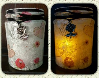 Heart and Roses Upcycled Jar, Decoupage, lamp, recycled, rustic, chic, battery operated t-light, pen holder, shabby, valentine