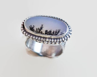 Dendritic Agate  Ring Black and White in Sterling Silver Size 7 Handcrafted