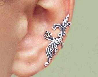 Iris Wave ear cuff Sterling Silver earrings Iris jewelry Iris earrings Sterling silver ear cuff Small clip non pierced iris ear cuff C-087