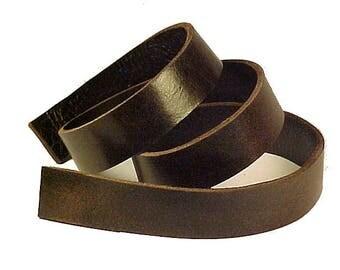 "One ESPRESSO BROWN 8-10oz BUFFALO Leather Strips 1/4""-3"" wide x 12""-60"" long"