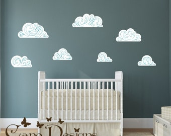 Wall Decal, Clouds wall decals,  Reusable Fabric Decal,  Removable, reusable and repositionable fabric wall decal