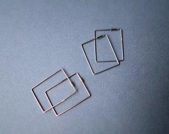 Large square hoop earrings, sterling silver rose gold ear loops