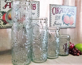 Vintage Embossed Fruit Design Glass Canisters / 4 Glass Jars for Storage and Organization / Vintage Glass Jars with Bale and Glass Lid