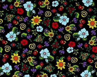 Quilting Treasures Painted Ponies Floral Black fabric - 1 yard