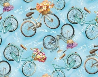 Wilmington Prints Le Cafe Blue Vintage Bicycle Fabric - 1 yard