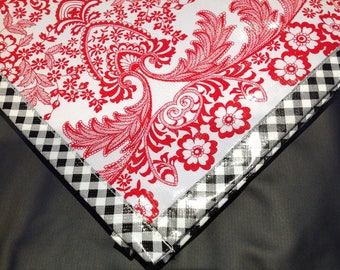 Square Toile Red Oilcloth Tablecloths with Black Gingham Trim