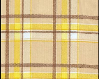 Round Plaid Brown And Yellow Oilcloth Tablecloth