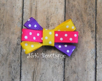 Tiny hair bow, itty bitty hair clip, yellow, purple and pink, polka dos, baby hair bows