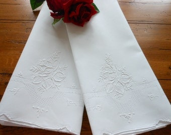 Exquiste Unused Vintage White On White Hand Embroidered Pillowcases Free Shipping