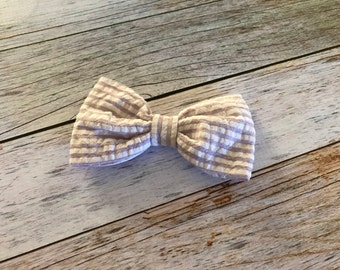 Purple Striped Hair Bow for Girls