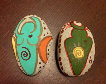 Stone teal/sage green God and Goddess Set