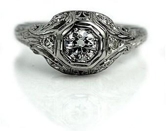 Art Deco Engagement Ring Vintage Diamond Ring Platinum .50ctw European Cut Engagement Ring 1930s Ring Antique Estate Ring Filigree Ring!