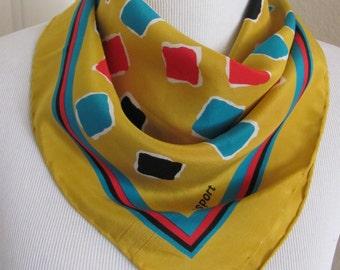 "Ciaosport // Small Colorful Silk Pocket Scarf // 17"" Inch 44cm Square"