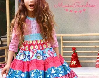 Christmas Knit Top Patchwork Twirl Dress