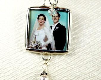 Wedding Bouquet Charm Memorial Bridal Bouquet Charm Bouquet Photo Charm Two Sided Bouquet Charm