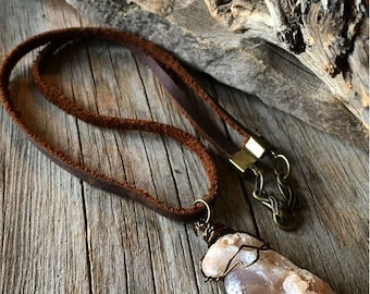 Long statement men's necklace rocker style tribal leather western rugged raw hardcore earthy organic gifts for men man masculine country