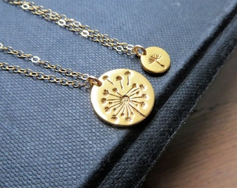 Mother daughter jewelry, Gold Dandelion necklace, Christmas gift for mom, dandelion charm