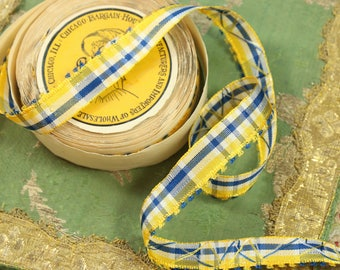 "1 yard vintage millinery ribbon rayon woven picot stripe ribbonwork blue yellow white 11/16"" shade 1940 hat trim  cocarde"