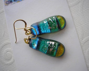 Dichroic Earrings Teal and Green Cascade of Color Fused Glass Jewelry Gold Earwires Dangles Pierced Fishhook French Hook Dichromium Boho