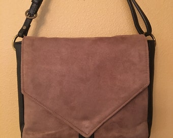 Becca #08  Creamy Brown Microsuede Purse, with Black Leather, Cross Body Purse, Cross Body Bag, Bags, Bags, Purse, Purses, Handbags, Women
